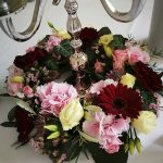 Grünwerkstatt Tischschmuck Hochzeit rot und rosa